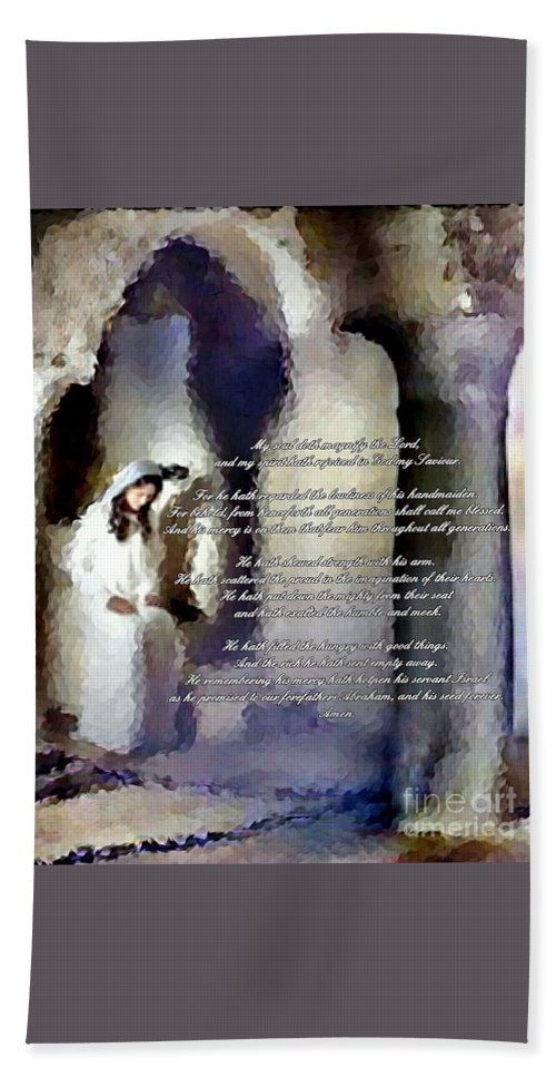 The Magnificat Bath Towel featuring the digital art Canticle Of Mary by Elizabeth Duggan
