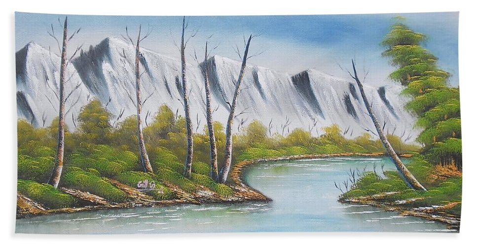 Winter Bath Sheet featuring the painting Winter Season - Mountains by Pisces Art Word