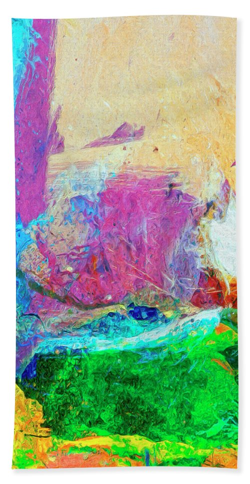Abstract Hand Towel featuring the painting Canyon De Chelly by Dominic Piperata