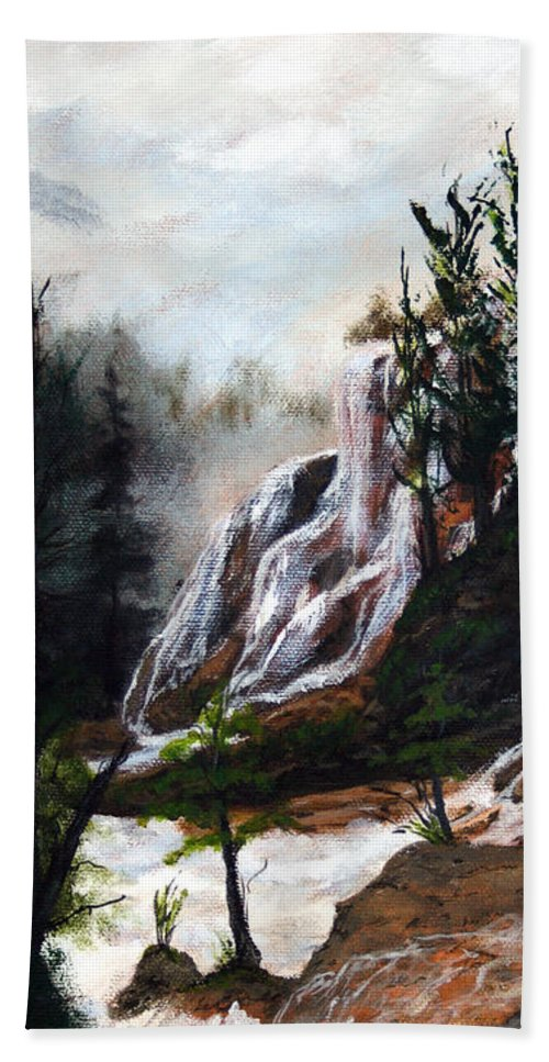 Landscape Bath Sheet featuring the painting Canyon Falls by Dennis Smith