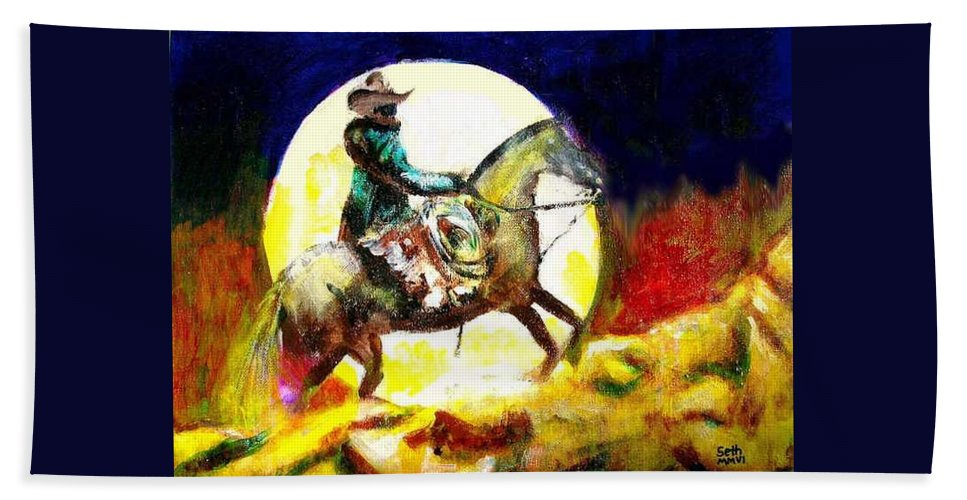 Canyon Moon Bath Towel featuring the painting Canyon Moon by Seth Weaver