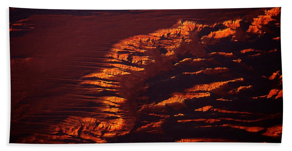 Landscape Photography Hand Towel featuring the photograph Canyonland From 36k by Strato ThreeSIXTYFive