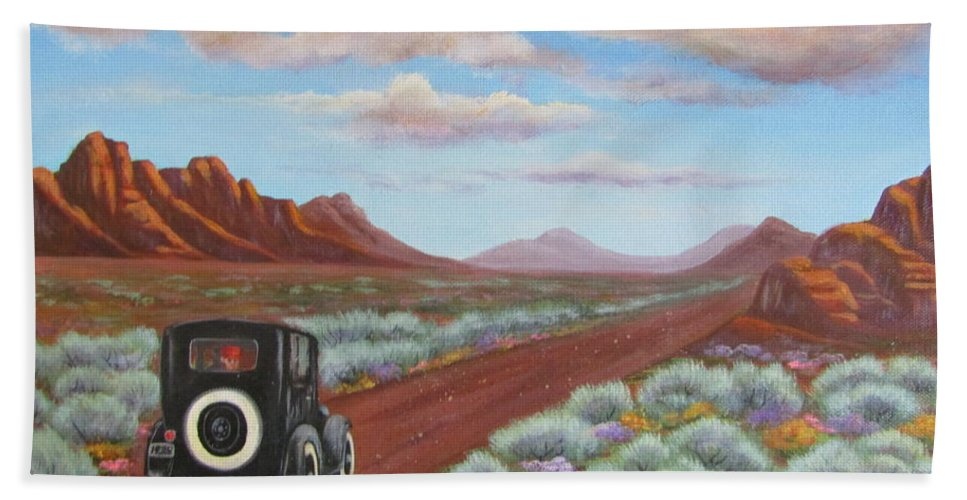 Hand Towel featuring the painting Rough Ride Through The Canyonlands by Sharon Coray