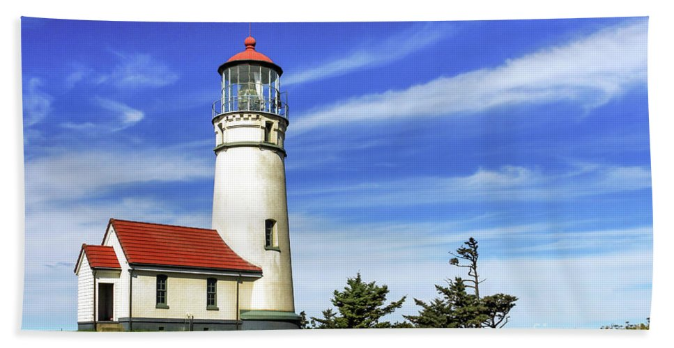 Lighthouse Bath Sheet featuring the photograph Cape Blanco Lighthouse by James Eddy