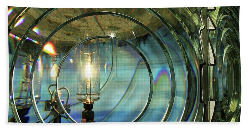 Lighthouse Bath Sheet featuring the photograph Cape Blanco Lighthouse Lens by James Eddy