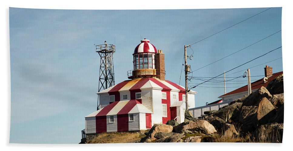 Bonavista Bath Sheet featuring the photograph Cape Bonavista Lighthouse, Newfoundland, Canada Old And New Lamp by Karen Foley