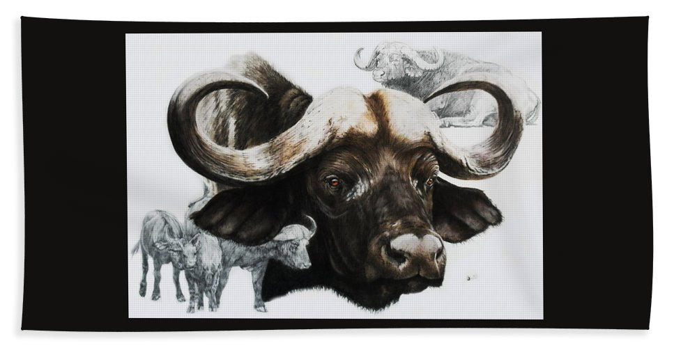 African Buffalo Hand Towel featuring the mixed media Cape Buffalo by Barbara Keith