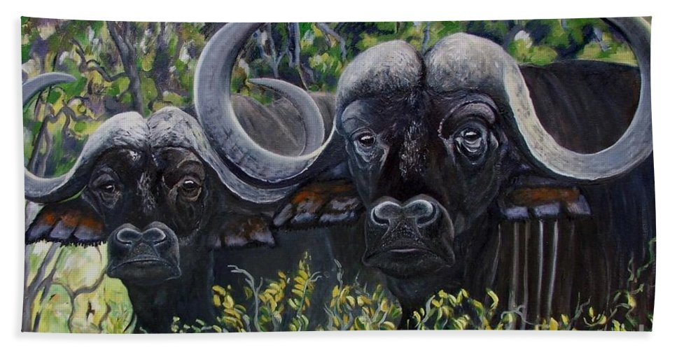 Buffalo Hand Towel featuring the painting Cape Buffalo First Painting by Caroline Street