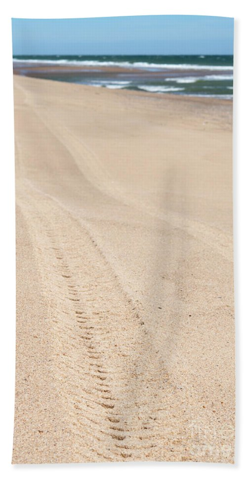 Cape Cod Hand Towel featuring the photograph Cape Cod Beach With Tire Tracks by Michelle Himes