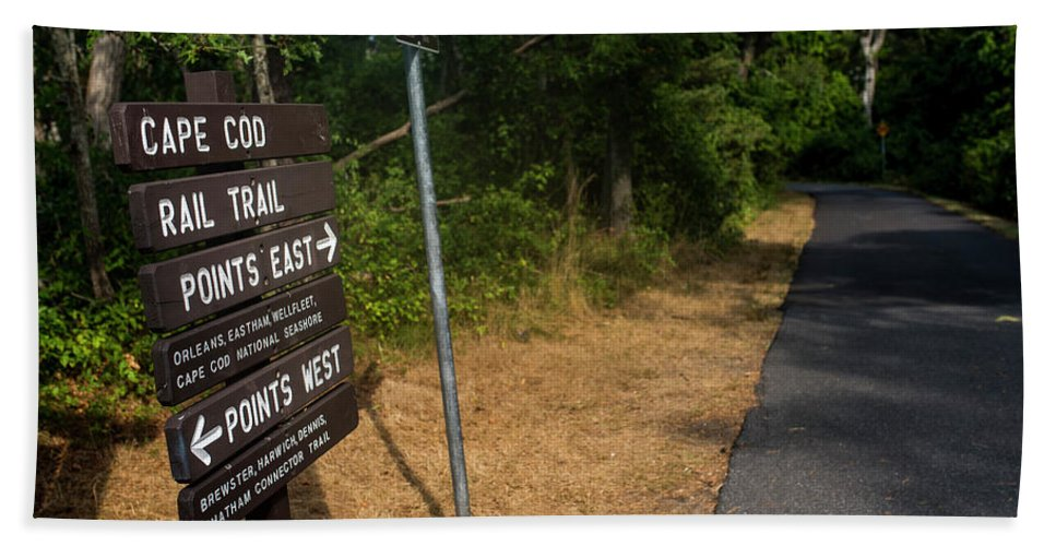 Cape Hand Towel featuring the photograph Cape Cod Rail Trail Sign Eastham Path by Toby McGuire