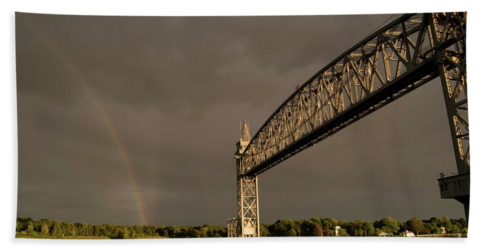 Cape Cod Hand Towel featuring the photograph Cape Cod Train Bridge With Rainbow by Michelle Himes