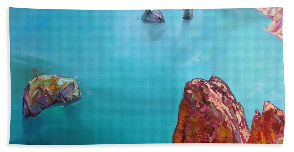 Ignatenko Hand Towel featuring the painting Cape Fiolent by Sergey Ignatenko