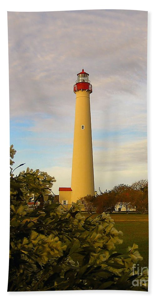 Atlantic Hand Towel featuring the photograph Cape May Lighthouse In Spring by Nick Zelinsky