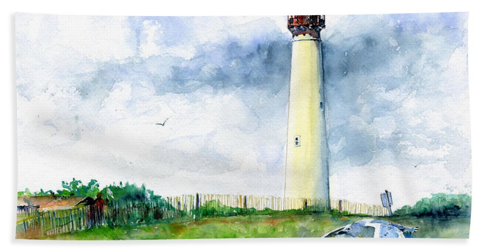 Lighthouse Bath Sheet featuring the painting Cape May Lighthouse by John D Benson
