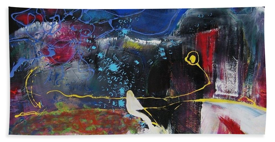 Abstract Bath Towel featuring the painting Cape Spear by Seon-Jeong Kim