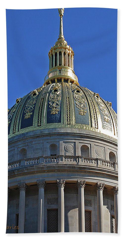 State Capitol Bath Sheet featuring the digital art Capitol Dome Charleston Wv by DigiArt Diaries by Vicky B Fuller