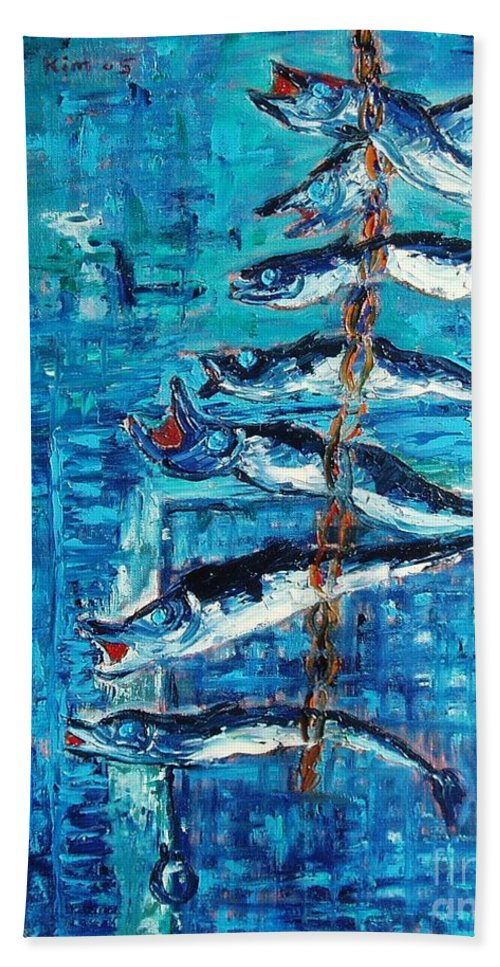 Fish Painting Hand Towel featuring the painting Caplin by Seon-Jeong Kim