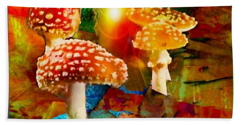 Mushrooms Hand Towel featuring the digital art Capping It Off by Ellen Cannon