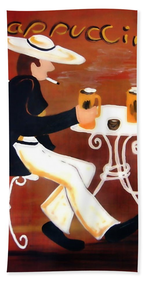 Cappuccino Hand Towel featuring the painting Cappuccino by Helmut Rottler
