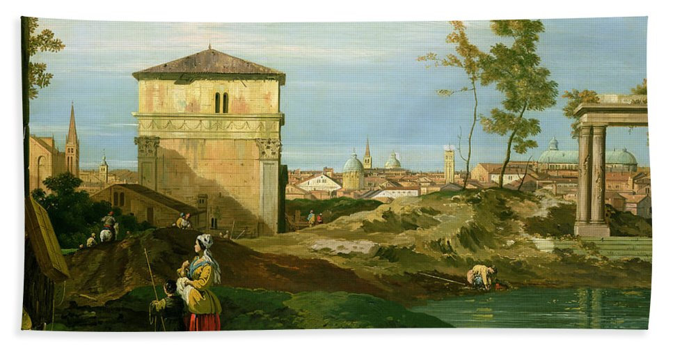 Canaletto Hand Towel featuring the painting Capriccio With Motifs From Padua by Canaletto