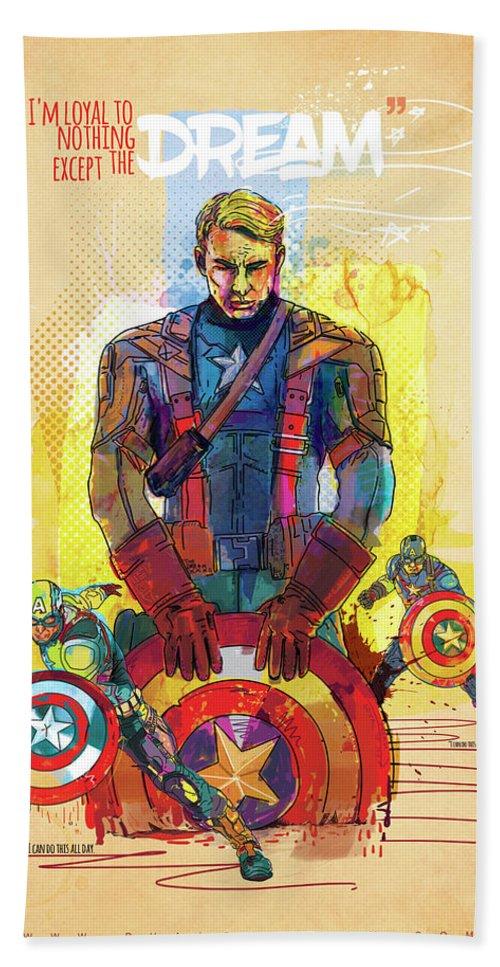 Captain America Hand Towel featuring the digital art Captain America by Phalguni Roy