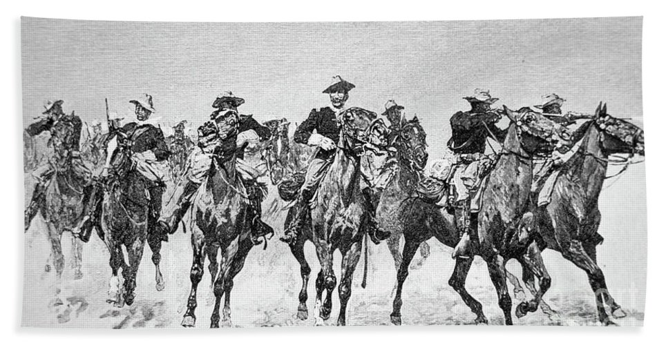 Remington Bath Sheet featuring the drawing Captain Dodge's Troopers To The Rescue by Frederic Remington