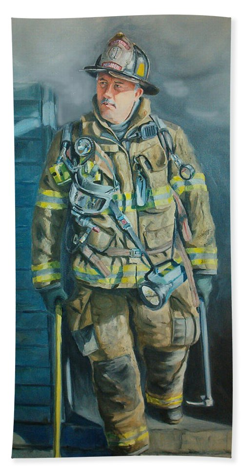 Firefighter Hand Towel featuring the painting Captain Harris by Paul Walsh