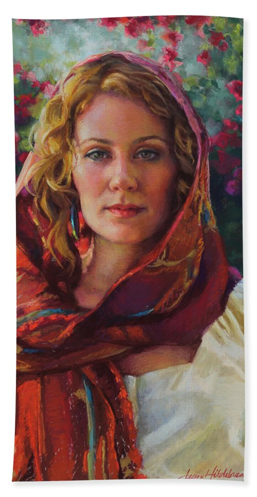 Woman Hand Towel featuring the painting Captivated by Jean Hildebrant