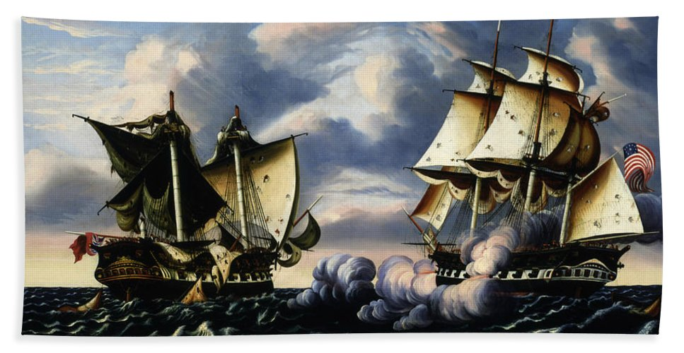American Art Hand Towel featuring the painting Capture Of H.b.m. Frigate Macedonian By U.s. Frigate United States, October 25, 1812 by Thomas Chambers