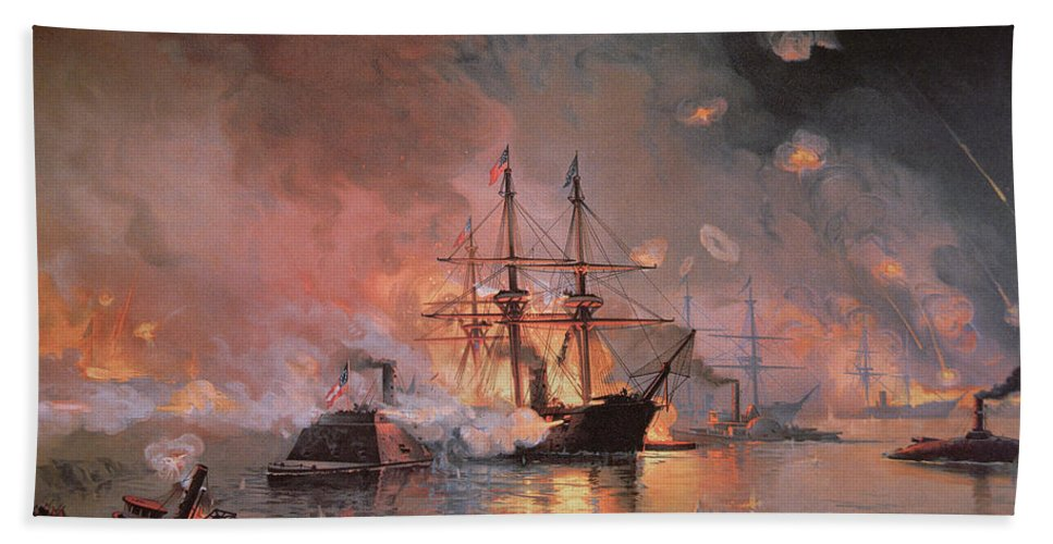 Capture Of New Orleans By Union Flag Officer David G. Farragut Bath Sheet featuring the painting Capture Of New Orleans By Union Flag Officer David G Farragut by Julian Oliver Davidson