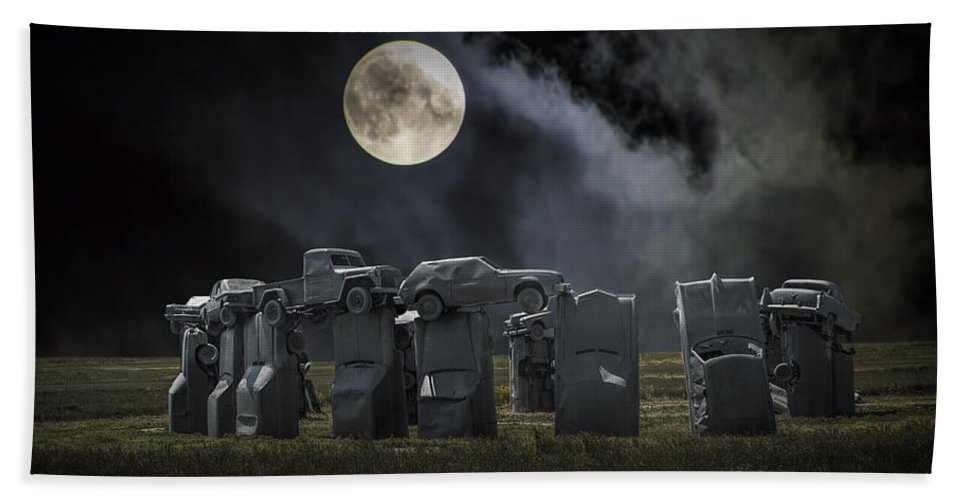 Henge Bath Sheet featuring the photograph Car Henge Under The Moonlight by Randall Nyhof