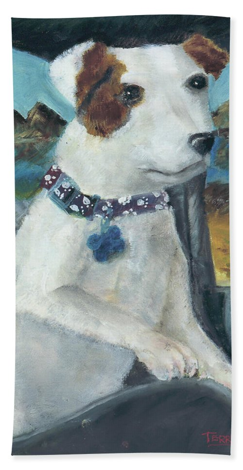 Dog Hand Towel featuring the painting Car Ride by Terry Lewey