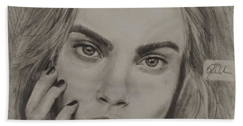Portrait Hand Towel featuring the drawing Cara by Delia Palmer