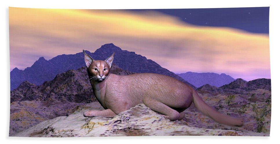 Caracal Or Desert Lynx 3d Render Hand Towel For Sale By Elenarts
