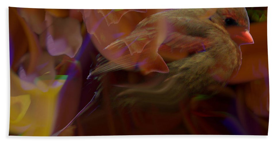 Jenny Gandert Bath Sheet featuring the digital art Cardinal And Abstract by Jenny Gandert