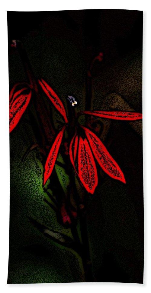 Digital Photograph Hand Towel featuring the photograph Cardinal Plant Woodcut by David Lane