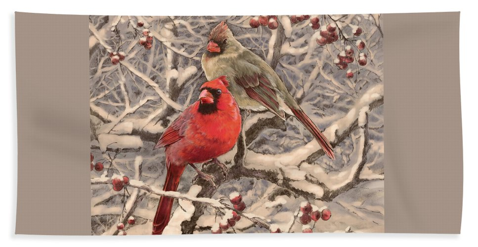 Cardinals Hand Towel featuring the drawing Cardinals by Laurie Musser