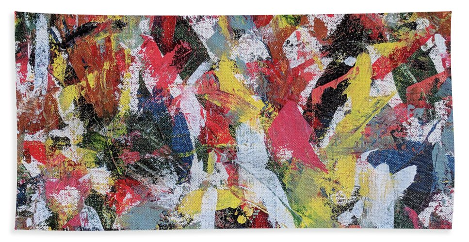 Abstract Hand Towel featuring the painting Cardinals by Trisha Pena