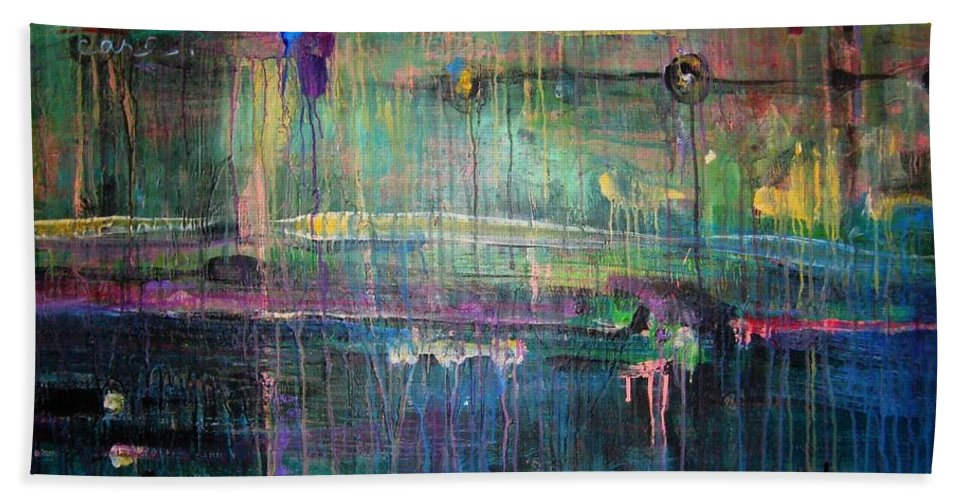 Abstract Bath Towel featuring the painting Care by Laurie Maves ART