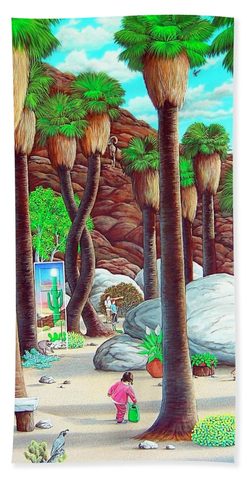 Canyon Bath Towel featuring the painting Caretaker by Snake Jagger