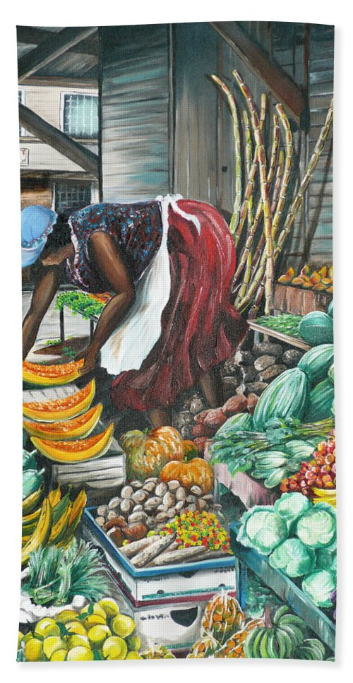 Caribbean Painting Market Vendor Painting Caribbean Market Painting Fruit Painting Vegetable Painting Woman Painting Tropical Painting City Scape Trinidad And Tobago Painting Typical Roadside Market Vendor In Trinidad Bath Sheet featuring the painting Caribbean Market Day by Karin Dawn Kelshall- Best
