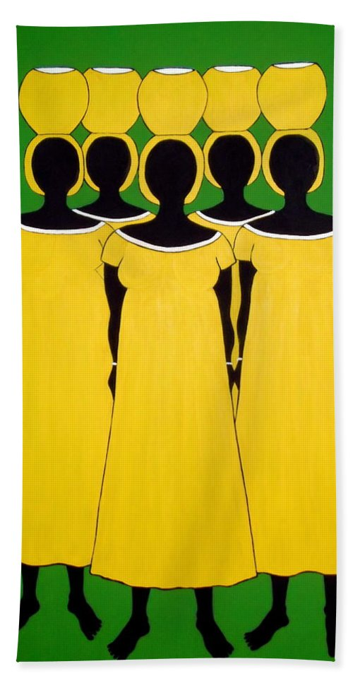 Women Hand Towel featuring the painting Caribbean Yellow by Stephanie Moore