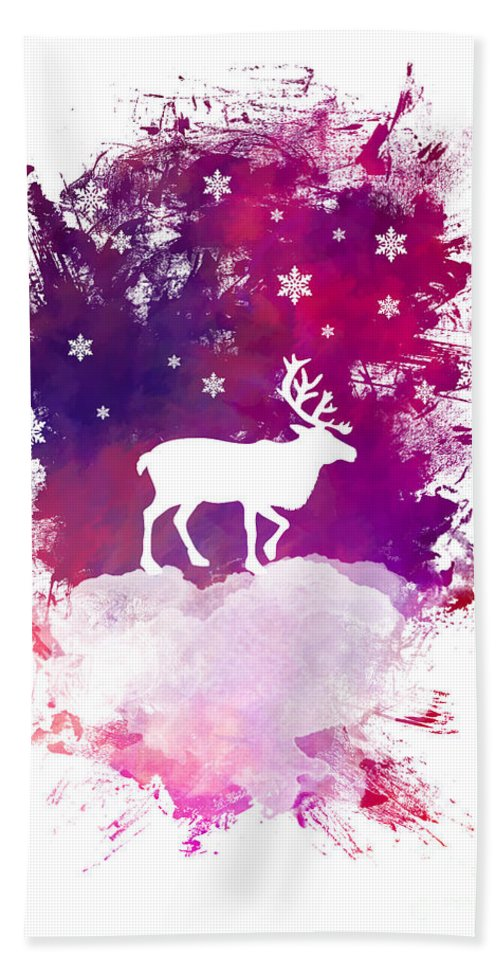 Caribou Hand Towel featuring the digital art Caribou Winter Art by Justyna JBJart