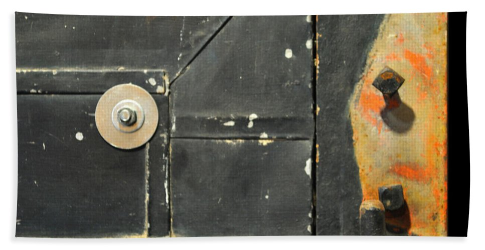 Firedoor Hand Towel featuring the photograph Carlton 10 - Firedoor Detail by Tim Nyberg