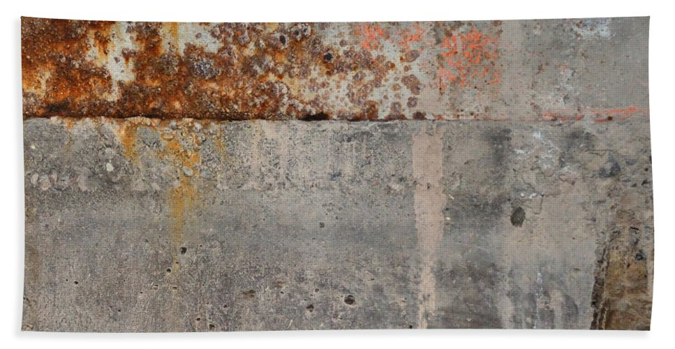 Concrete Bath Towel featuring the photograph Carlton 16 Concrete Mortar And Rust by Tim Nyberg