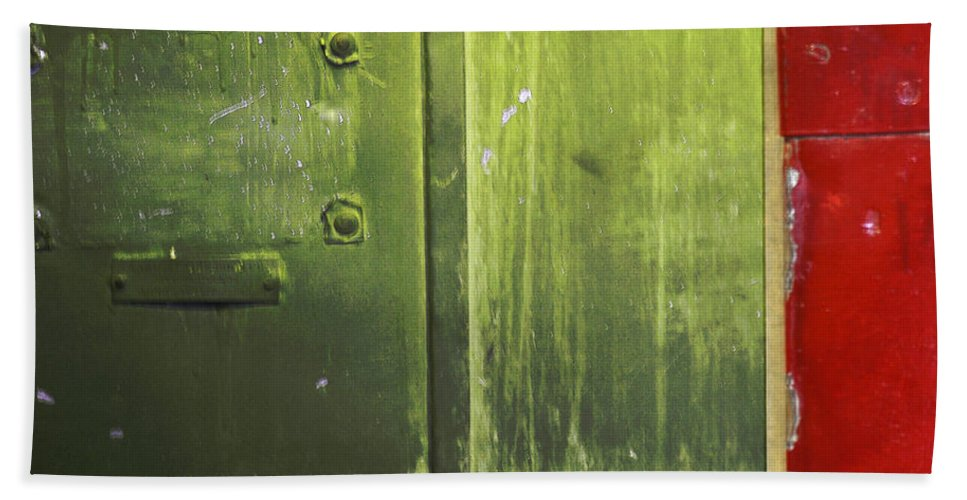 Metal Hand Towel featuring the photograph Carlton 6 - Firedoor Abstract by Tim Nyberg