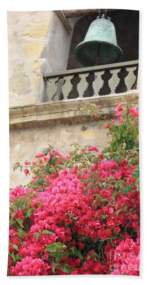 Carmel-by-the-sea Bath Sheet featuring the photograph Carmel Mission Bell by Carol Groenen