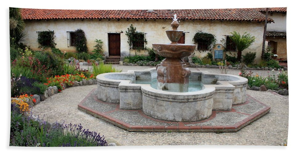 Catholic Bath Sheet featuring the photograph Carmel Mission Courtyard by Carol Groenen