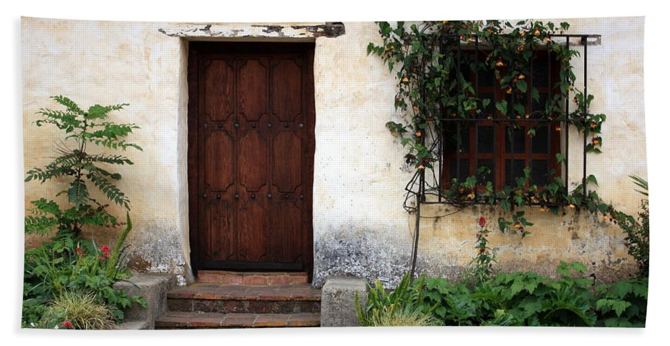 Carmel Mission Hand Towel featuring the photograph Carmel Mission Door by Carol Groenen