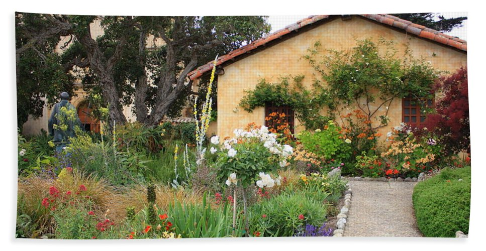 Carmel Hand Towel featuring the photograph Carmel Mission With Path by Carol Groenen